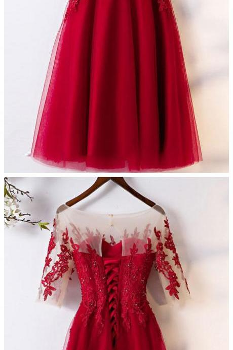 Sexy Scoop Neck Short Homecoming Dress Tea Length Short Prom Dress With Lace Short Sleeve .Short Cocktail dRESS