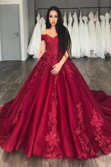 New Arrival Burgundy Satin Lace China Wedding Dress Ball Gown Bridal Gowns , Bridal Gowns China