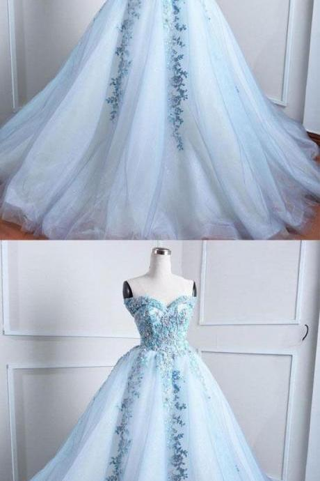 Off Shoulder Light Blue Tulle Ball Gown Long Prom Dress With Lace Appliqued Custom Made Prom Party Gowns ,Sweet 16 Prom Gowns