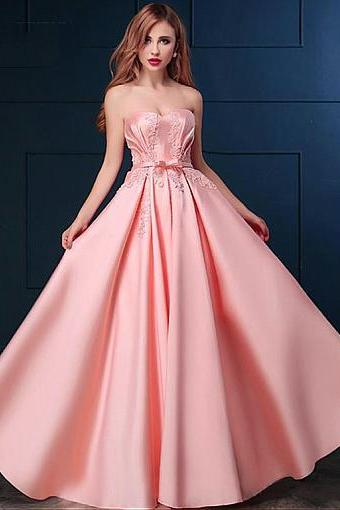 Sexy A Line Pink Satin Long Prom Dress Custom Made Lace Prom Party Gowns ,Cheap Evening Dress ,Plus Size Women Gowns