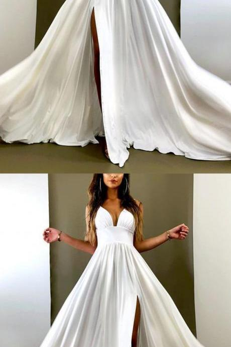 Custom Made White Satin Long Prom Dress A Line Women Party Gowns Plus Size Formal Evening Party Dresses