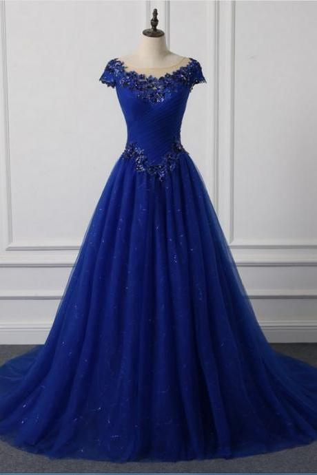 Royal Blue Scoop Neck Ball Gown Prom Dresses Custom Made Tulle Lace Prom Gowns ,Long Evening Dress .Sweet 15 Quinceanera Dress