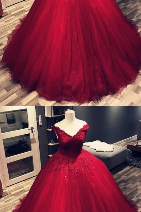 Elegant Burgundy Tulle Lace Quinceanera Dress, Sweet 16 Prom Dress, Sexy Pricess Women Prom Gowns