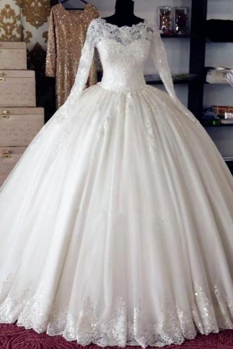 Elegant White Ball Gown Pricess Wedding Dresses Custom Made Country Women Wedding Gowns With Long Sleeve