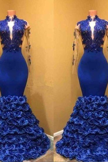 Fashion Blue Satin Long Sleeve Mermaid Prom Dress Custom Made Long Evening Party Gowns With Skirts Flowers,Cheap Women Party Gowns