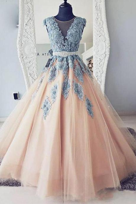 Sexy Ball Gown Scoop Neck Long Prom Dress, Pricess Women Party Gowns , Sweet 16 Prom Gowns ,Quinceanera Party Gowns