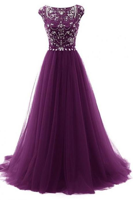 Elegant Purple Beaded Tulle Long Prom Dress A Line Women Party Gowns ,Plus Size Women Party Gowns ,Cheap Prom Gowns