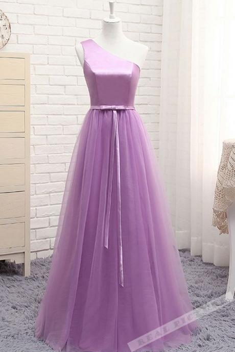 New Arrival One Shoulder Purple Tulle Long Bridesmaid Dress, Long Prom Dress, Plus Size Wedding Guest Gowns ,Maid Of Honor Gowns