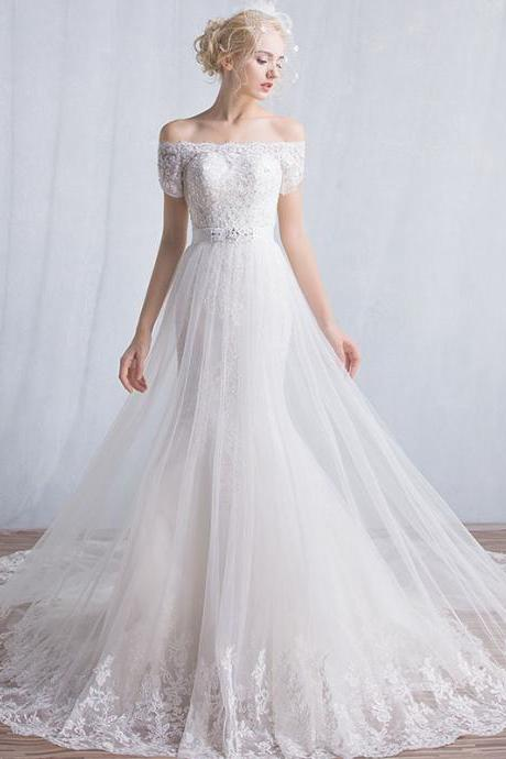 Plus Size White Lace Wedding Dresses Mermaid Off Shoulder China Wedding Gowns Appliqued Women Bridal Gowns