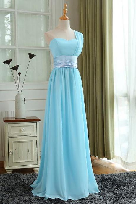 Cheap One Shoulder Turquoise Chiffon Long Bridesmaid Dress A Line Women Prom Dresses, Custom Made Evening Party Gowns