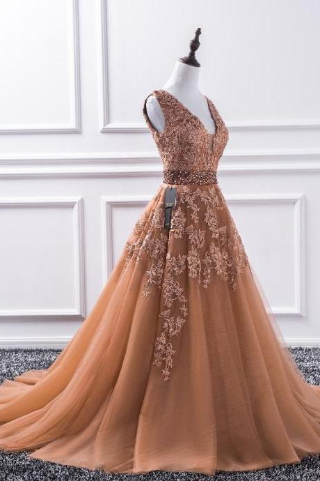 Charming V-Neck Lace Beaded Long Prom Dress Plus Size Ball Gown Tulle Formal Evening Dress, A Line Prom Party Dress With Ribbon Beaded