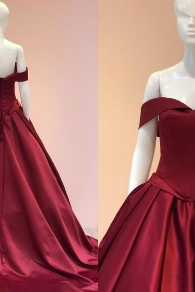 Elegant Burgundy Satin Ball Gown Prom Dress Plus Size Long Prom Party Gowns , Sweet 15 Quinceanera Dresses