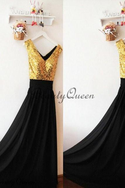 Cheap A Line Black Chiffon Long Bridesmaid Dress Gold Sequin Corset Maid Of Honor Gowns ,Plus Size Maid Of Honor Gowns