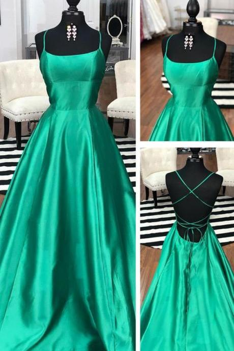 Sexy A Line Green Satin Long Prom Dress Custom Made Cross Criss Back Women Party Gowns ,Spaghetti Strapl Evening Dress
