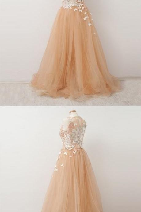 Fashion A Line Scoop Neck Lace Prom Dress Champagne Tulle Formal Prom Party Gowns