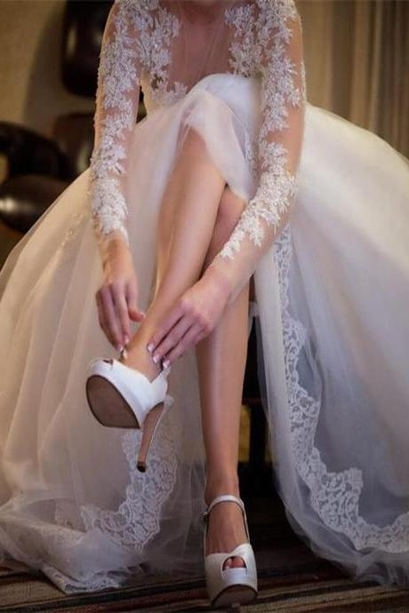 Elegant Long Sleeve Lace Sheer China Wedding Dress A Line Formal Women Wedding Gowns , Plus Size Women Gowns
