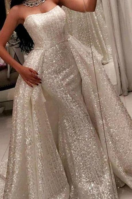 Elegant Sequin Mermaid Prom Dresses With Detachable Train Custom Made Women Party gowns , Arabic Long Evening Dresses
