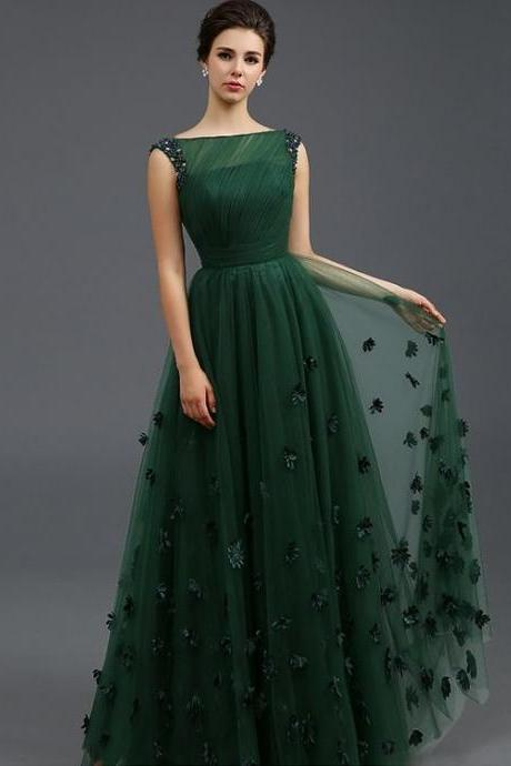 Off Shoulder Dark Green Tullr Ruffle Long Prom Dress Custom Made Women Party Gowns With Hand Made Flower.
