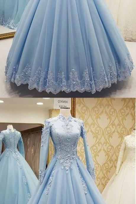 New Arrival Blue Lace Ball Gown Prom Dress High Neck Women Party Gowns Plus Size Formal Evening Dress With Long Sleeve