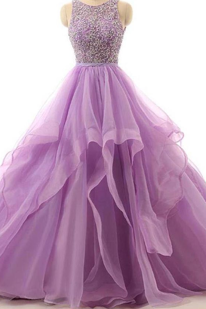 Sexy Lavender Tulle Beaded Long Prom Dress With Skirts Tiers Plus Size Backless Women Prom Gowns
