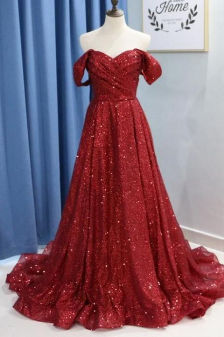 Plus Size Burgundy Sequin Long Prom Dress, Formal Evening Dress, Custom Made Formal Prom Gowns
