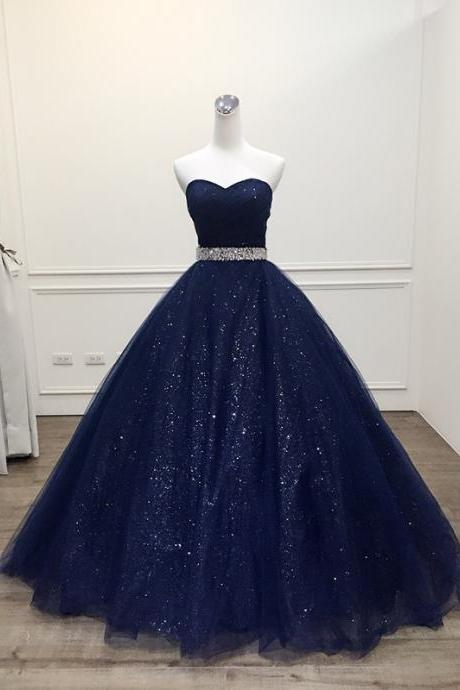 New Arrival Navy Blue Sequin Long Prom Dress, Custom Made Women Party Gowns ,Long Evening Dress