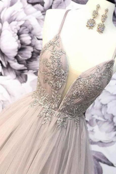Fashion Plus Size Lace Tulle Long Prom Dresses ,A Line Prom Gowns , Formal Evening Dresses