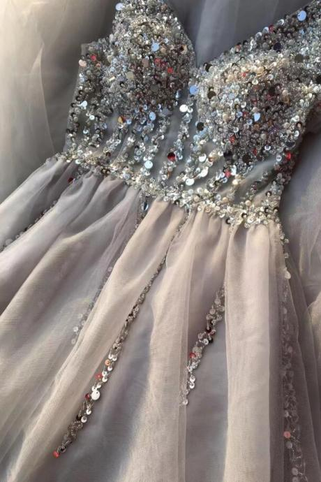 Cute Beaded Light Gray Long Prom Dress 2019 Sexy V-Neck Prom Party Dresses A Line Long Evening Dresses
