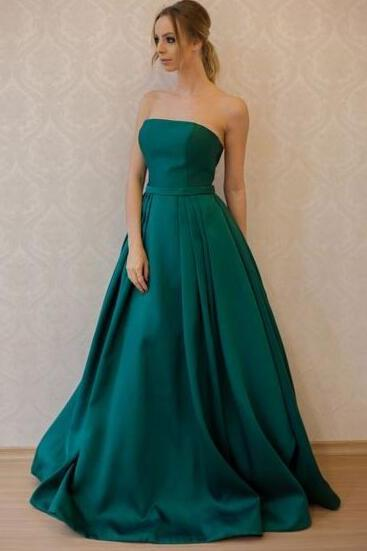 Plus Size Prom Dress Dark Green Satin Cheap Prom Dresses,A Line Prom Party Dress,Strapless Women Gowns