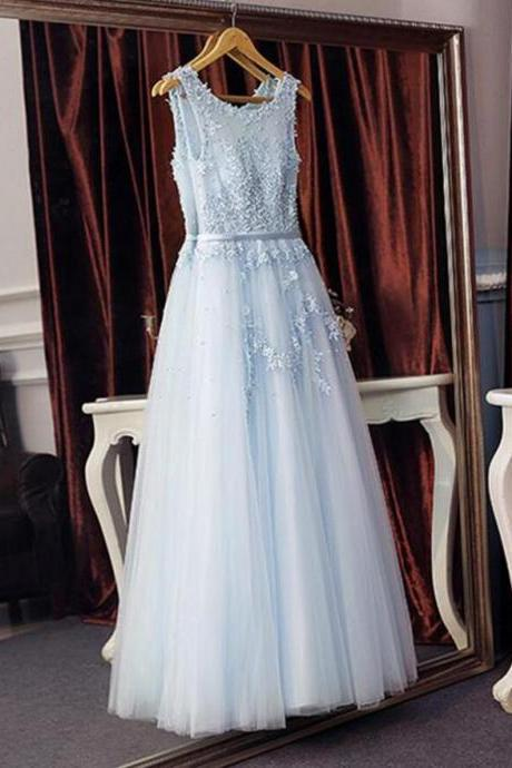 Sexy A Line Light Sky Blue Tullle Lace Prom Dress Scoop Neck Beaded Long Prom Dresses With Appliqued, Formal Evening Dress 2019