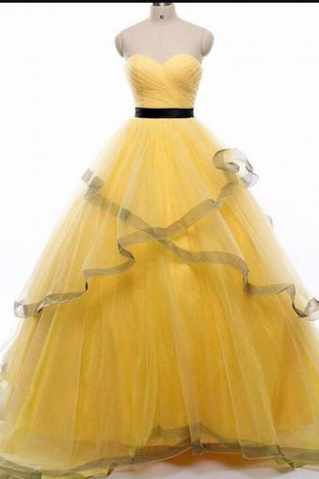 Fashion Yellow Tulle A Line Prom Dress Off Shoulder Long Prom Party Gowns Custom Made Women Party Gowns .
