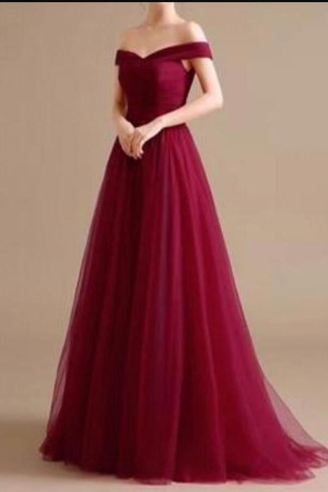 4f4970e5145a New Arrival A Line Burgundy Tulle Long Prom Dress 2019 Plus Size Formal  Evening Dress Strapless