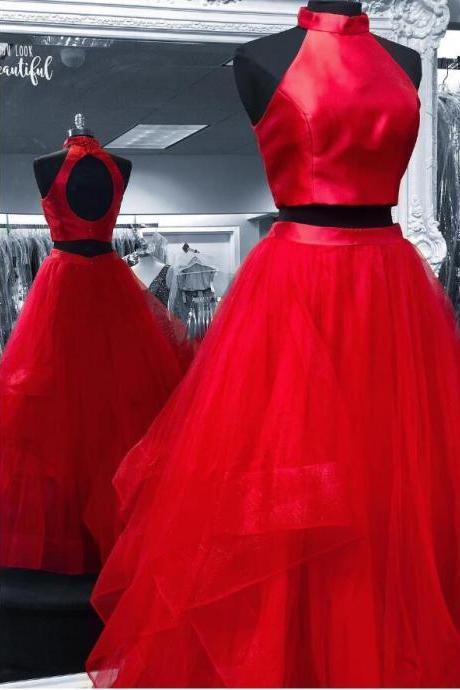Cheap Two Pieces Red Tulle Long Prom Dress Strapless Junior Party Gowns ,A Line Women Party Dress