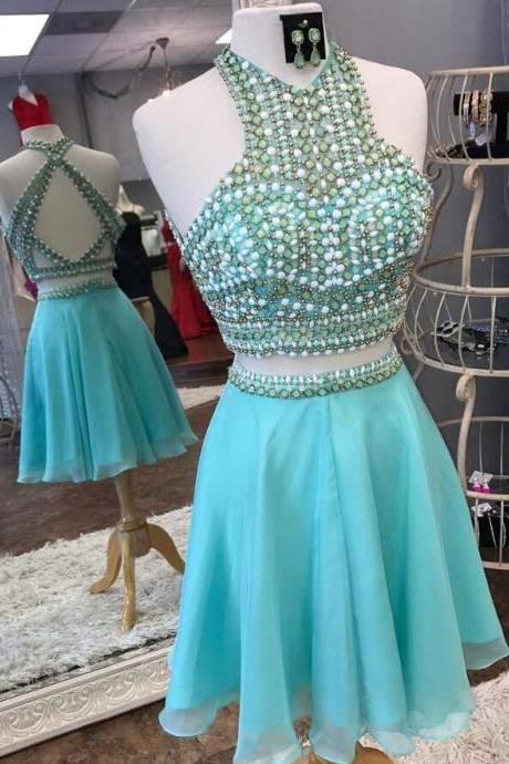 Charming Turquoise Chiffon Short Homecoming Dress Two Pieces Crystal Corset Mini Party Gowns Cocktail Party Gowns 2019