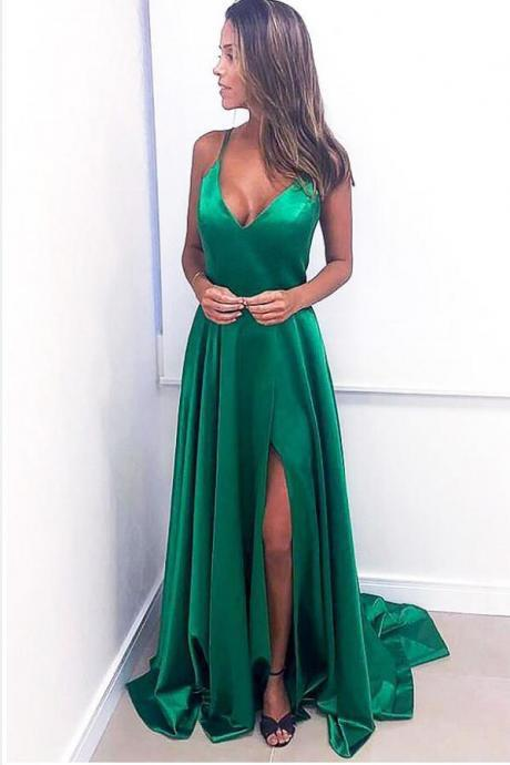 Sexy A Line Green Satin Prom Dress Strapless Formal Evening Dress Custom Made Women Pageant Gowns ,A Line Cheap Evening Dress