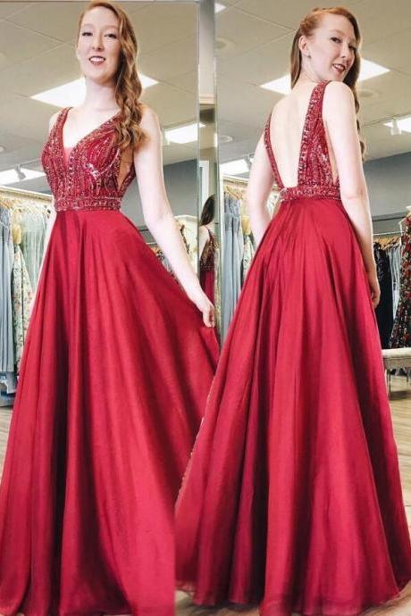 Sexy V-Neck Red Satin Beaded Crystal Long Prom Dress Backless Formal Evening Dresses,Plus Size Women Party Gowns