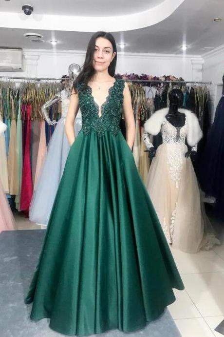 New Arrival Emerald Green Lace Beaded Formal Evening Dress Deep V-Neck Long Prom Party Dresses A Line Women Gowns