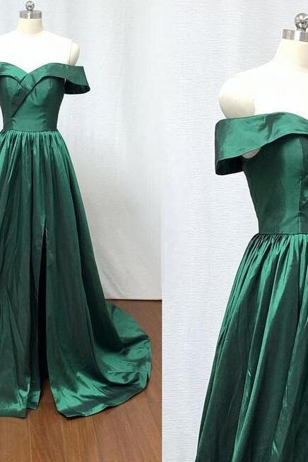 Fashion Off Shoulder Green Long Prom Dress,Custom Made Prom Dresses, Formal Evening Dress ,Sweep Train Prom Gowns 2019