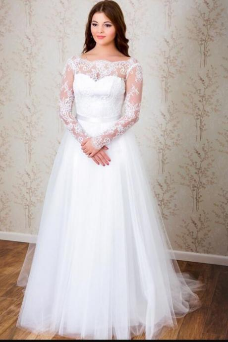 Plus Size White Lace A Line China Wedding Dress With Long Sleeve Sexy Cheap Women Bridal Gowns
