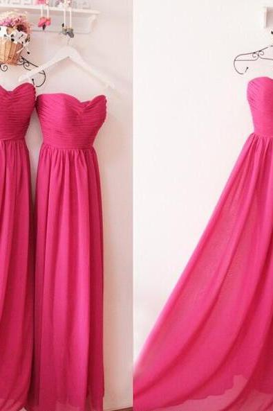 Cheap Long Bridesmaid Dress Fuchsia Ruffle A Line Wedding Party Gowns, Custom Made Maid Of Honor Gowns 2019