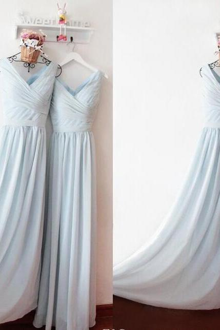 A Line Light Sky Blue Chiffon Ruffle V-Neck Long Prom Dresses 2019 Floor Length Women Prom Gowns , Long Evening Dress