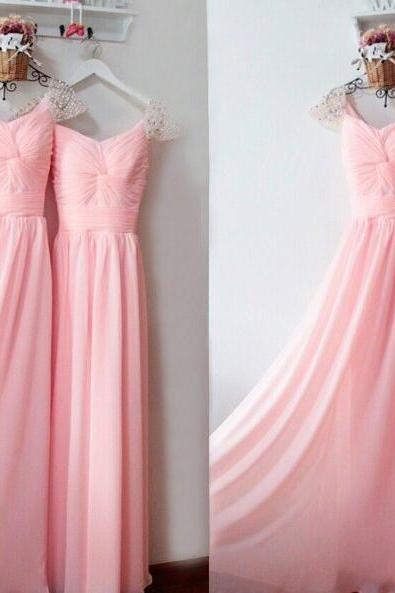 Fashion Pink Chiffon Ruffle A Line Prom Dress With Caped Sleeve Beaded Plus Size Formal Prom Gowns ,Wedding Prom Party Gowns