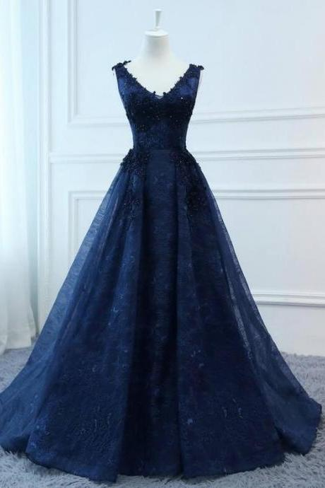 Navy Blue V-Neck Lace Appliqued Long Prom Dress Plus Size Women Party Gowns , Sexy Ball Gown Quinceanera Dresses 2019