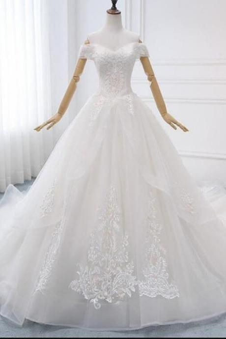 Charming A Line White Lace Beaded Chins Wedding Dress Sweetheart Organza Women Bridal Gowns .