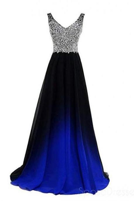 Sexy V-Neck Beaded Crystal Long Gradient Chiffon Prom Dress A Line Plus Size Women Party Gowns ,Custom Made Bridesmaid Dress 2019