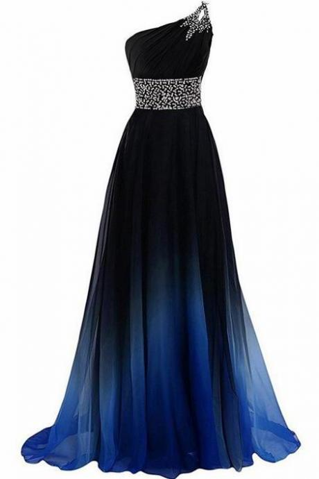 New Arrival One Shoulder Beaded Long Prom Dress Custom Made Women Party Gowns ,Custom Made Bridesmaid Party Dress
