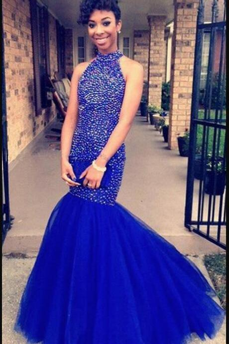 Luxury Beaded Crystal Royal Blue Tulle Mermaid Prom Dress Custom Made Long Prom Gowns ,Sexy Women Party Gowns