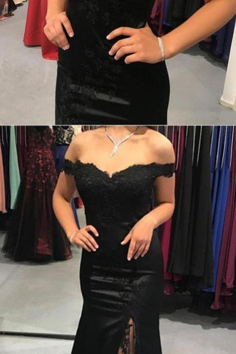 Off Shoulder Black Lace Prom Dress Off Shoulder Women Party Gowns ,Mermaid Bridesmaid Dress, Plus Size Wedding Party Gowns