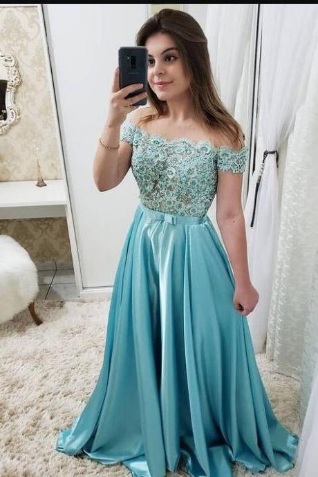 Custom Made A Line Lace Appliqued Long Prom Dress,Cheap Prom Dress, Women Party Gowns , Long Evening Dress