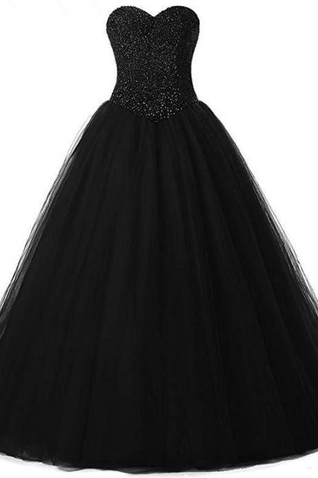 Luxury Beaded Black Tulle Ball Gown Quinceanera Dresses Sweet 16 Prom Gowns Custom Made Long Prom Dress